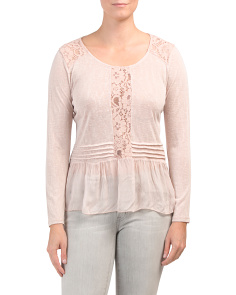 Made In Italy Long Sleeve Lace Detail Top