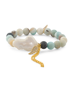 Handcrafted In California Amazonite Druzy Bracelet