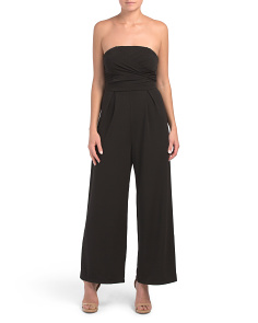 Juniors Strapless Wide Leg Jumpsuit