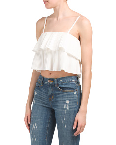 Juniors Strap Double Crop Top