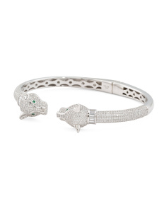 Sterling Silver Cz Panther Open Cuff Bracelet