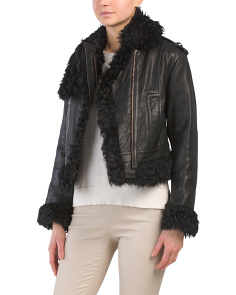Shearling Trim Leather Moto Jacket