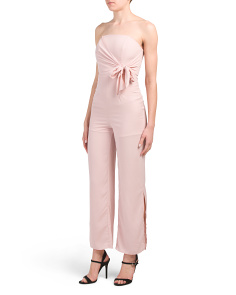 Juniors Strapless Tie Waist Jumpsuit