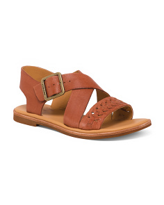 Braid Flat Leather Sandals