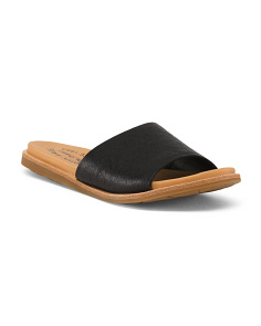 One Band Leather Slide Sandals