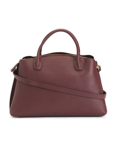 Made In Italy Leather Triple Compartment Satchel