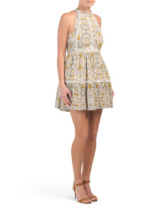Juniors Printed High Neck Dress