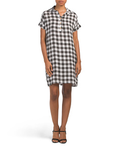 Made In Italy Linen Gingham Popover Dress