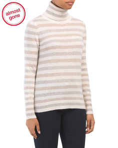 Cashmere Essential Stripe Turtleneck Sweater