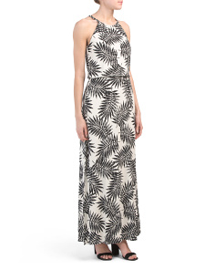 Palm Print Halter Neck Maxi Dress