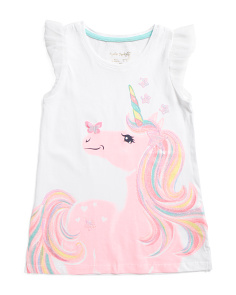 Little Girls Glitter Sequin Unicorn Top