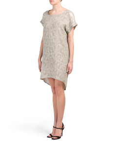Made In Italy Linen Embroidered Wedge Dress