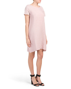 Made In Italy Linen Eyelet Shift Dress