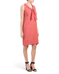 Made In Italy Linen Tie Front Dress