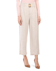 Juniors Linen Blend Belted Trousers