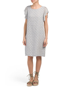 Made In Italy Linen Blend Tonal Dot Dress