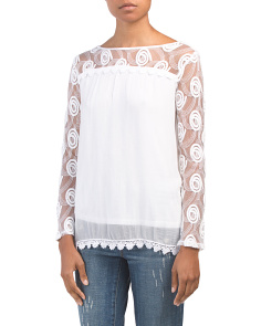 Made In Italy Crochet Trim Silk Blend Top