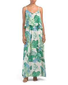 Made In Italy Silk Blend Tropical Print Maxi Dress