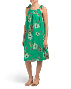 Made In Italy Floral Print Linen Halter Dress