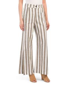 Juniors Linen Blend Lux Stripe Pants
