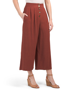 Juniors Button Up Linen Blend Pants