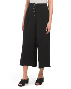 Juniors Linen Blend Button Up Pants