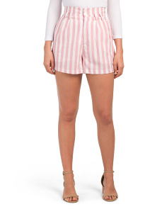 Juniors Linen Look Lux Striped Shorts