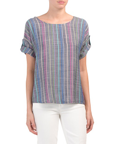 Made In Italy Sporty Multi Stripe Blouse