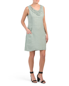 Made In Italy Sleeveless Linen Dress
