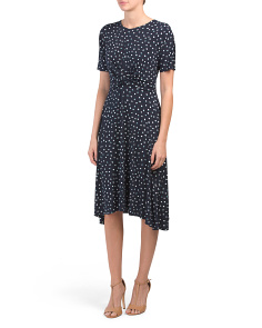 Petite Polka Dot Hankie Hem Dress