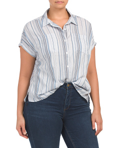 Plus Short Sleeve Button Down Top