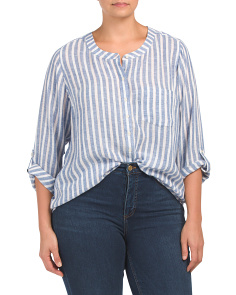 Plus Linen Blend Roll Sleeve Striped Shirt