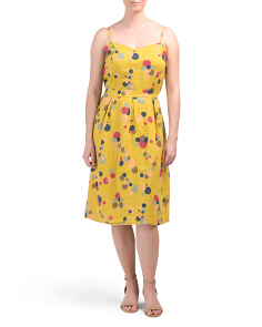 Made In Italy Linen Circle Print Midi Sundress