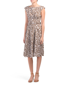 Made In Italy Leopard Linen Midi Dress