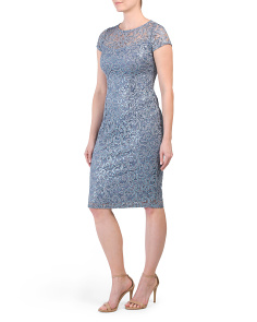 Sequin Lace Cap Sleeve Midi Dress