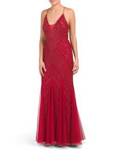 Sleeveless All Over Beaded Gown