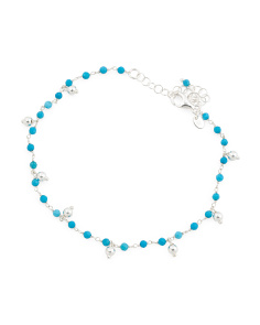 Made In Italy Sterling Silver Howlite Rosary Anklet