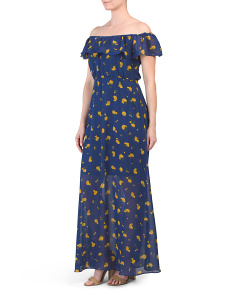 Vintage Floral Chiffon Maxi Dress