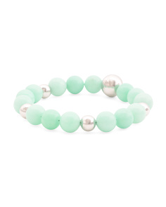 Made In Italy Sterling Silver 10mm Green Amazonite Bracelet