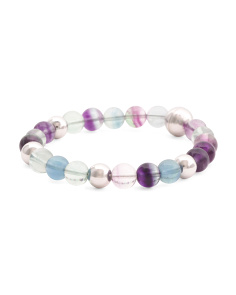 Made In Italy Sterling Silver 8mm Fluorite Bracelet