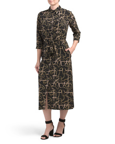 Chain Print Midi Shirt Dress