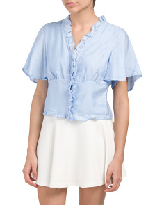 Juniors Flutter Sleeve Button Shirt