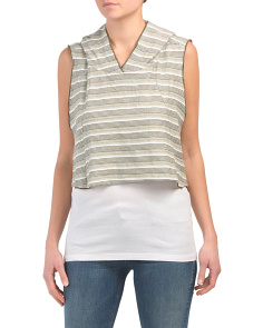 Juniors Striped Hooded Crop Top