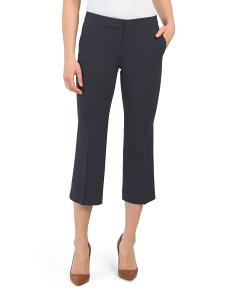Petite Crepe Cropped Manhattan Flare Pants