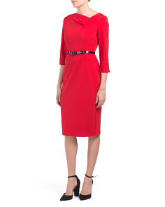 Belted Three Quarter Sleeve Cuffed Dress