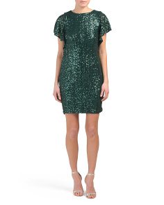 Flutter Sleeve Sequin Dress