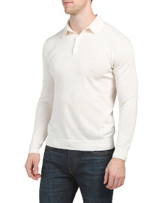 Davie Long Sleeve Melange Polo Sweater