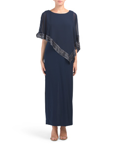 Asymmetrical Cape Overlay Gown