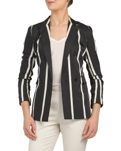 Petite Dramatic Stripe Double Breasted Jacket