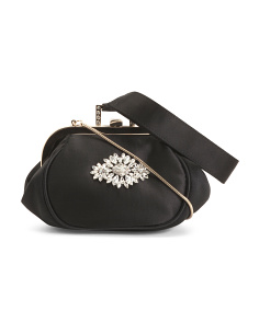 Addison Clutch With Front Ornament And Wristlet Strap
